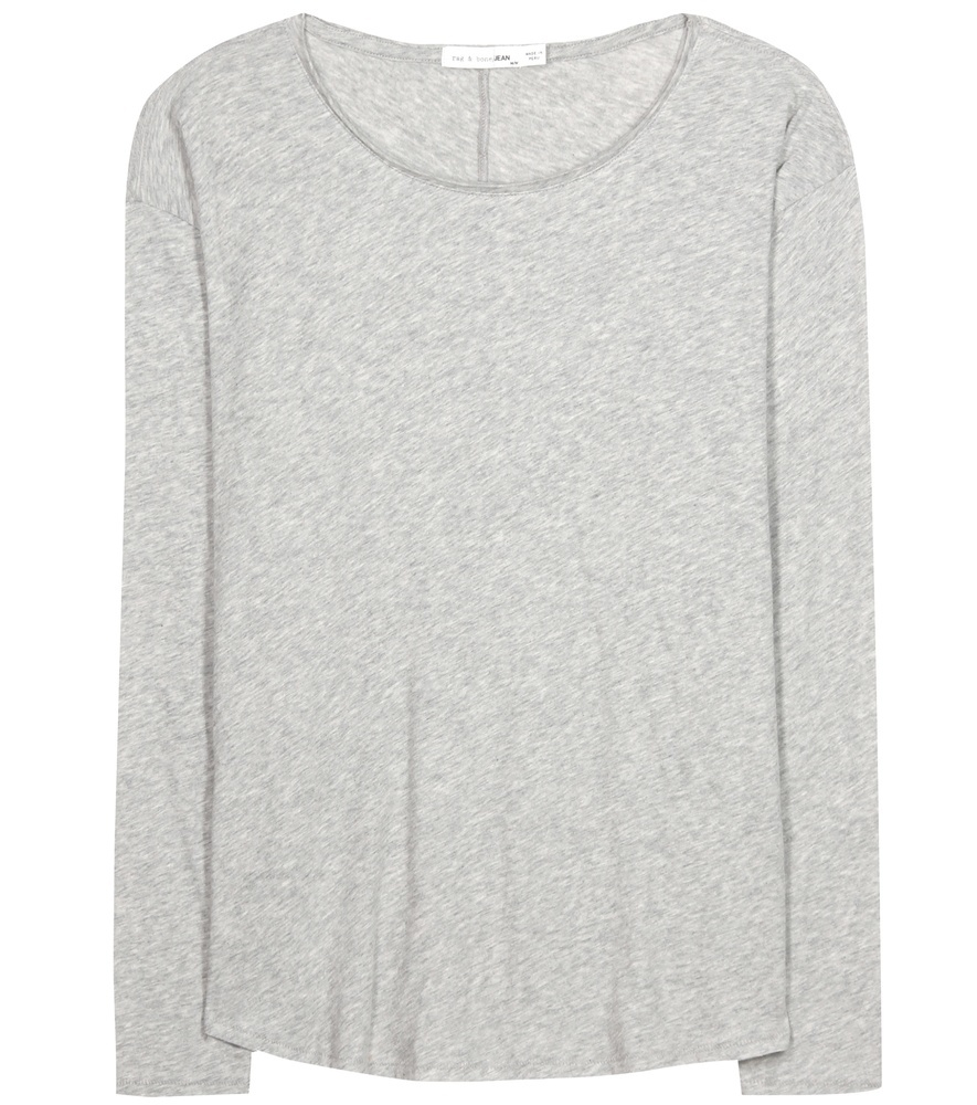 Slacker Cotton T Shirt - neckline: round neck; pattern: plain; style: t-shirt; predominant colour: light grey; occasions: casual; length: standard; fibres: cotton - 100%; fit: body skimming; sleeve length: long sleeve; sleeve style: standard; pattern type: fabric; texture group: jersey - stretchy/drapey; season: s/s 2016; wardrobe: basic