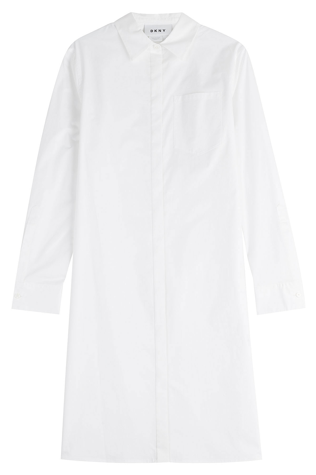 Cotton Shirt Dress - style: shirt; neckline: shirt collar/peter pan/zip with opening; pattern: plain; predominant colour: white; occasions: casual; length: just above the knee; fit: body skimming; fibres: cotton - 100%; sleeve length: long sleeve; sleeve style: standard; texture group: cotton feel fabrics; pattern type: fabric; season: s/s 2016; wardrobe: basic