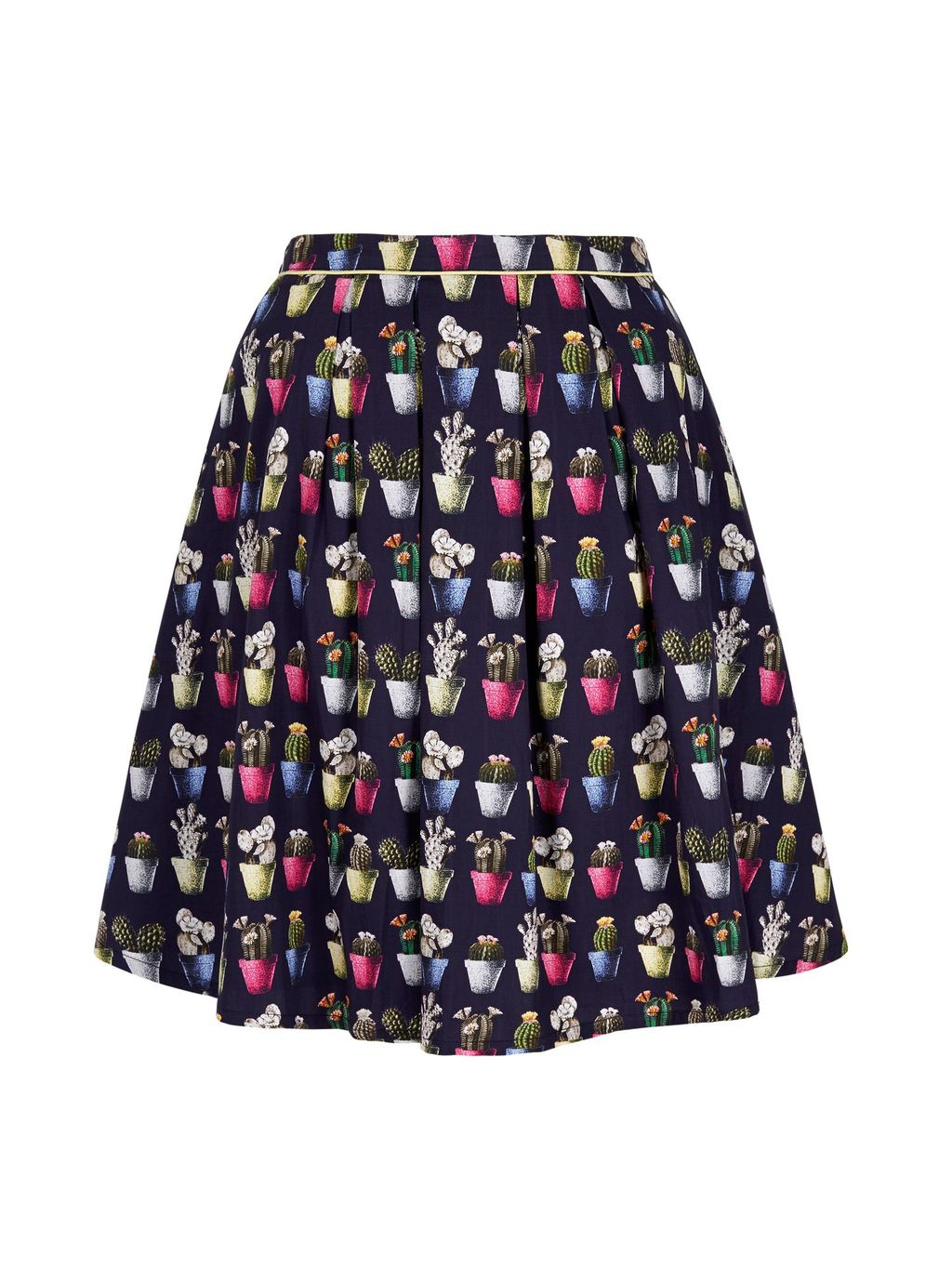 Cactus Print Skater Skirt, Navy - length: mid thigh; fit: loose/voluminous; style: pleated; waist: high rise; secondary colour: hot pink; predominant colour: navy; fibres: polyester/polyamide - 100%; waist detail: feature waist detail; pattern type: fabric; pattern: patterned/print; texture group: woven light midweight; occasions: creative work; pattern size: standard (bottom); multicoloured: multicoloured; season: s/s 2016; wardrobe: highlight