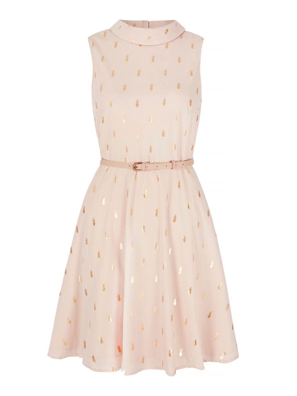 Cactus Foil Print Dress, Nude - sleeve style: sleeveless; neckline: high neck; waist detail: belted waist/tie at waist/drawstring; predominant colour: blush; secondary colour: gold; occasions: evening; length: just above the knee; fit: fitted at waist & bust; style: fit & flare; fibres: polyester/polyamide - 100%; sleeve length: sleeveless; pattern type: fabric; pattern: patterned/print; texture group: woven light midweight; season: s/s 2016; wardrobe: event