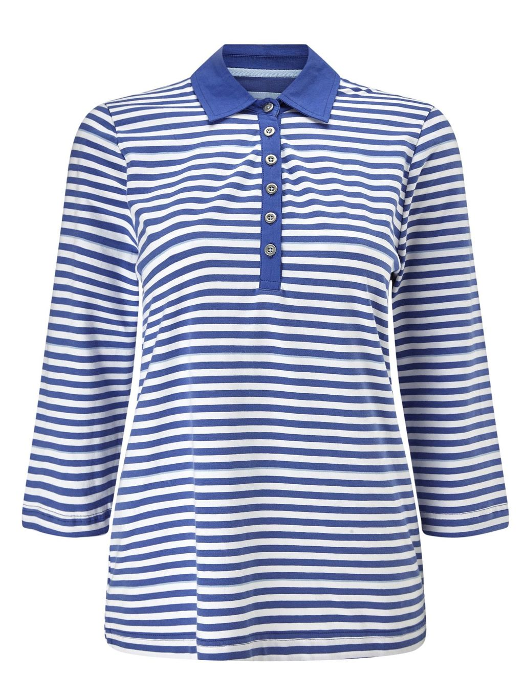 Dusty Blue Interlock Rugby, Blue - neckline: shirt collar/peter pan/zip with opening; pattern: horizontal stripes; secondary colour: white; predominant colour: royal blue; occasions: casual; length: standard; style: top; fibres: cotton - stretch; fit: body skimming; bust detail: contrast pattern/fabric/detail at bust; sleeve length: 3/4 length; sleeve style: standard; pattern type: fabric; pattern size: standard; texture group: jersey - stretchy/drapey; multicoloured: multicoloured; season: s/s 2016
