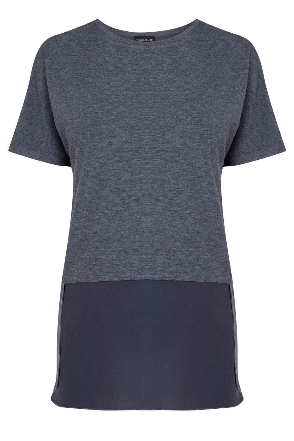 Woven Mix Short Sleeved Top, Light Blue - predominant colour: navy; occasions: casual; length: standard; style: top; fibres: polyester/polyamide - 100%; fit: body skimming; neckline: crew; sleeve length: short sleeve; sleeve style: standard; texture group: jersey - clingy; pattern type: fabric; pattern size: standard; pattern: colourblock; season: s/s 2016; wardrobe: highlight