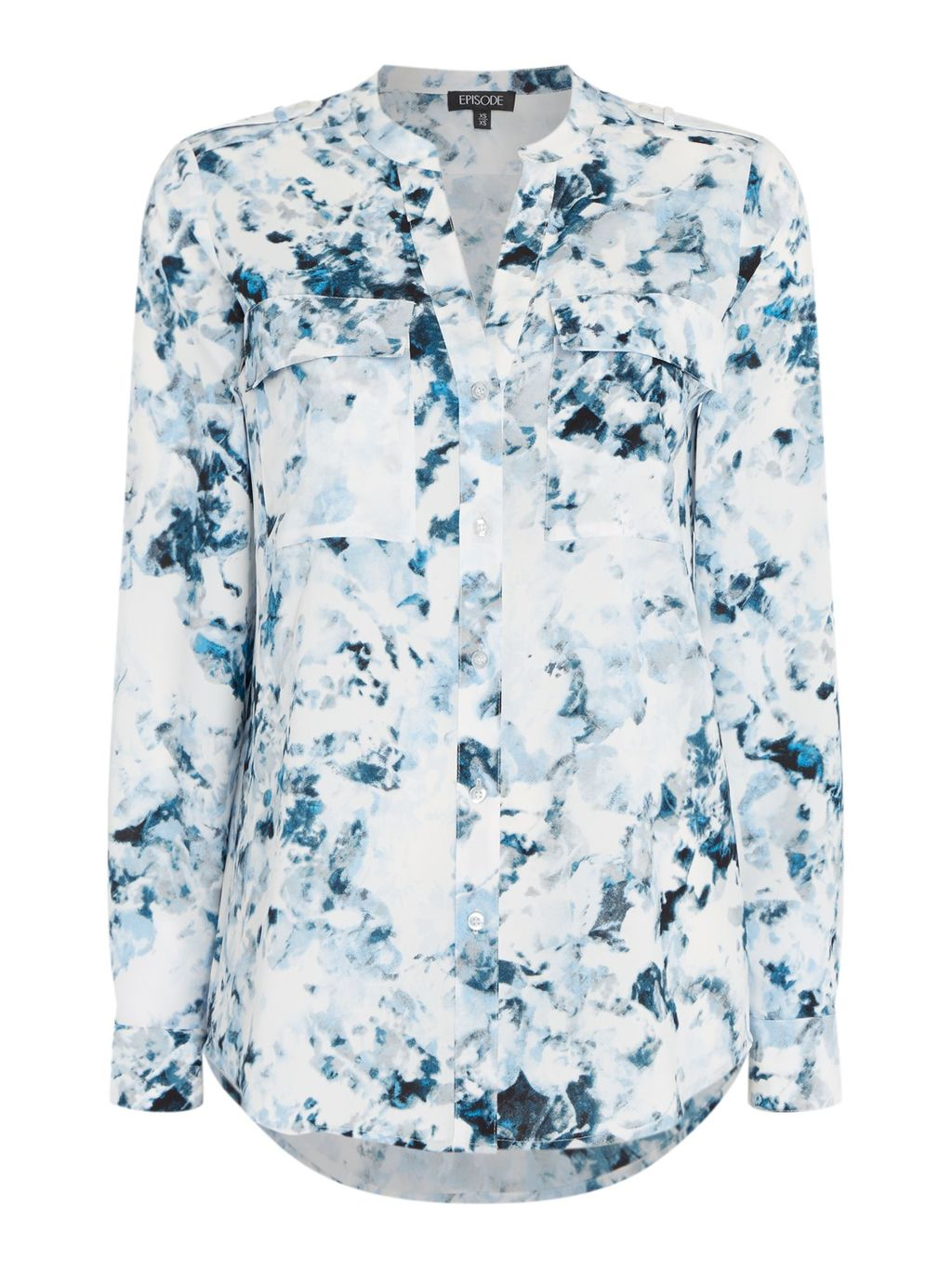 Floral Print V Neck Blouse, Black/White - style: blouse; predominant colour: white; secondary colour: navy; occasions: casual; length: standard; neckline: collarstand & mandarin with v-neck; fibres: polyester/polyamide - 100%; fit: body skimming; sleeve length: long sleeve; sleeve style: standard; pattern type: fabric; pattern: florals; texture group: woven light midweight; multicoloured: multicoloured; season: s/s 2016