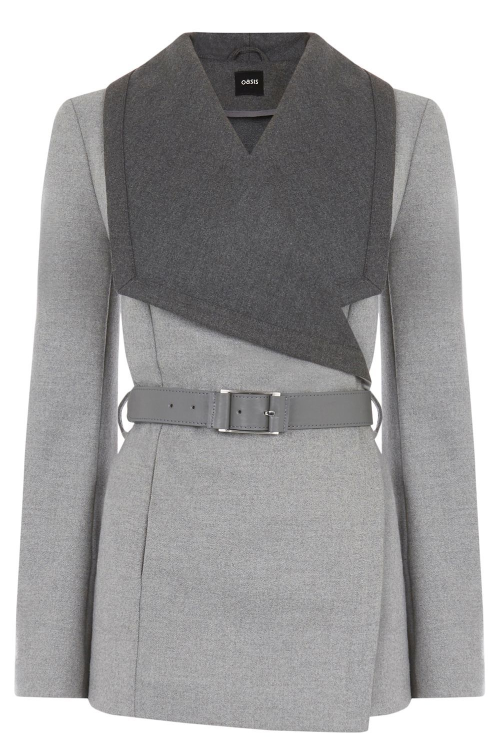 Khloe Belted Drape, Grey - pattern: plain; length: standard; collar: wide lapels; style: wrap around; secondary colour: charcoal; predominant colour: light grey; occasions: casual; fit: tailored/fitted; waist detail: belted waist/tie at waist/drawstring; sleeve length: long sleeve; sleeve style: standard; collar break: medium; pattern type: fabric; texture group: woven bulky/heavy; fibres: viscose/rayon - mix; multicoloured: multicoloured; season: s/s 2016; wardrobe: basic