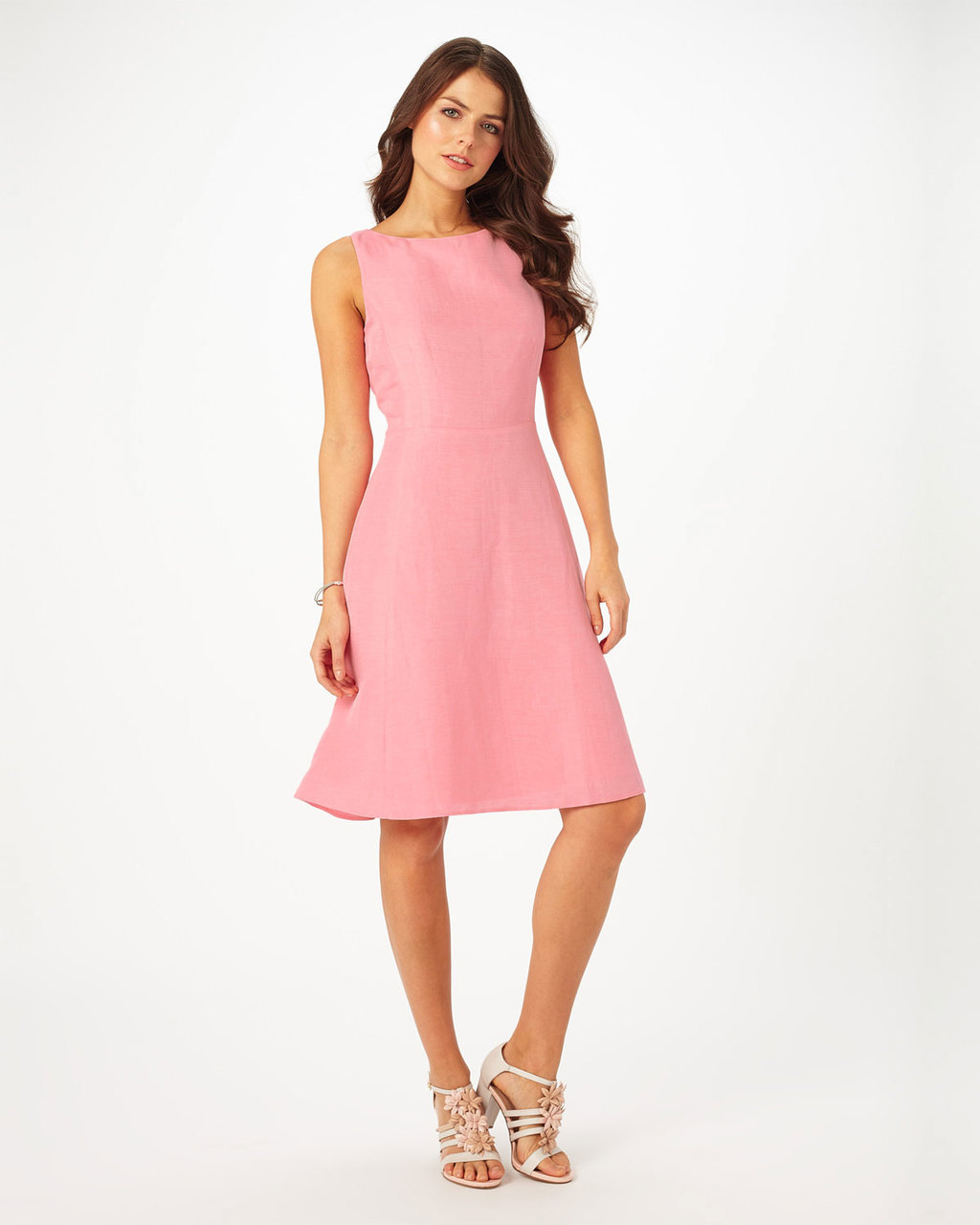 Louanna Dress - neckline: slash/boat neckline; pattern: plain; sleeve style: sleeveless; predominant colour: pink; occasions: evening; length: on the knee; fit: fitted at waist & bust; style: fit & flare; fibres: linen - mix; sleeve length: sleeveless; pattern type: fabric; texture group: other - light to midweight; season: s/s 2016