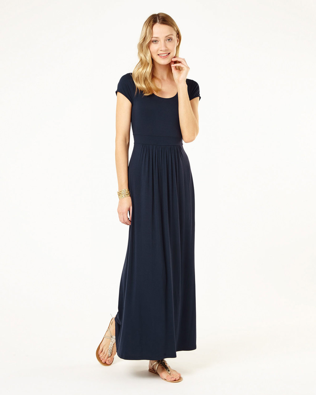 Tilda Plain Maxi - pattern: plain; style: maxi dress; length: ankle length; predominant colour: navy; occasions: casual; fit: body skimming; neckline: scoop; fibres: viscose/rayon - stretch; sleeve length: short sleeve; sleeve style: standard; pattern type: fabric; texture group: jersey - stretchy/drapey; season: s/s 2016