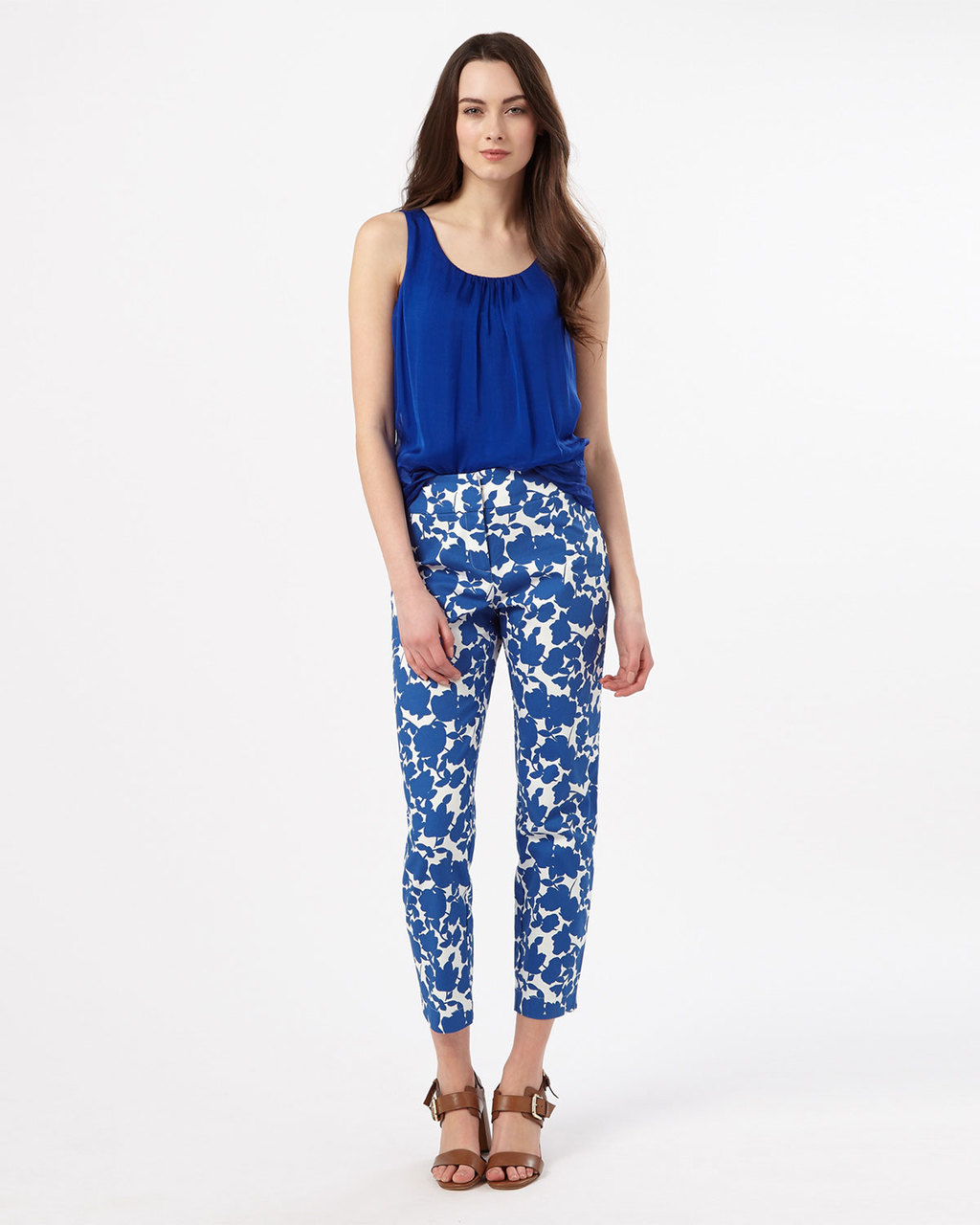 Fleur Print Trouser - pocket detail: pockets at the sides; waist: mid/regular rise; secondary colour: white; predominant colour: royal blue; occasions: casual, creative work; length: ankle length; fibres: cotton - stretch; fit: slim leg; pattern type: fabric; pattern: florals; texture group: other - light to midweight; style: standard; pattern size: big & busy (bottom); season: s/s 2016; wardrobe: highlight