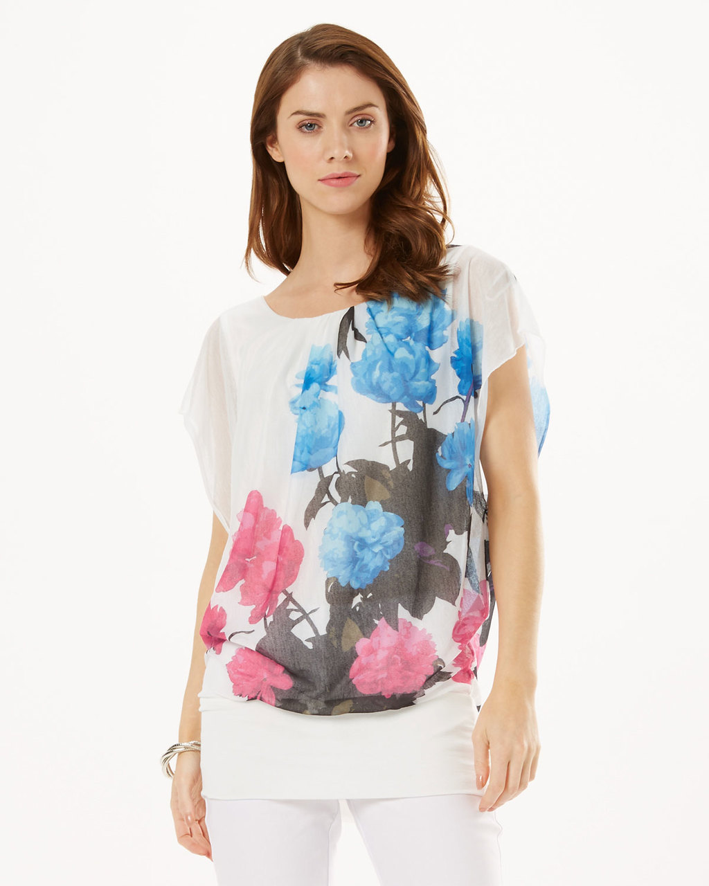 Mina Floral Top - neckline: round neck; length: below the bottom; predominant colour: ivory/cream; secondary colour: diva blue; occasions: casual; style: top; fibres: polyester/polyamide - 100%; fit: body skimming; sleeve length: short sleeve; sleeve style: standard; texture group: sheer fabrics/chiffon/organza etc.; pattern type: fabric; pattern: florals; multicoloured: multicoloured; season: s/s 2016; wardrobe: highlight