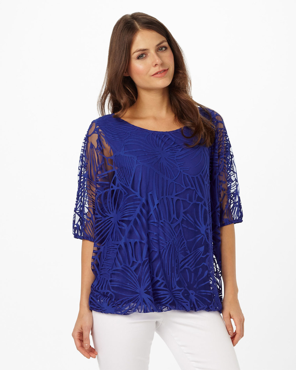 Cecily Burnout Top - neckline: round neck; predominant colour: royal blue; occasions: evening; length: standard; style: top; fit: body skimming; sleeve length: half sleeve; sleeve style: standard; texture group: lace; pattern type: fabric; pattern size: standard; pattern: patterned/print; fibres: viscose/rayon - mix; season: s/s 2016; wardrobe: event