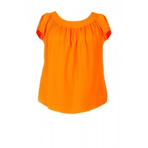 Crepe De Chine Button Back Top - neckline: round neck; pattern: plain; predominant colour: bright orange; occasions: casual; length: standard; style: top; fibres: polyester/polyamide - 100%; fit: body skimming; sleeve length: short sleeve; sleeve style: standard; texture group: crepes; pattern type: fabric; season: s/s 2016; wardrobe: highlight