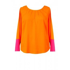 Crepe De Chine Contrast Pintuck Top - neckline: round neck; secondary colour: hot pink; predominant colour: bright orange; occasions: casual; length: standard; style: top; fibres: polyester/polyamide - 100%; fit: body skimming; sleeve length: long sleeve; sleeve style: standard; texture group: crepes; pattern type: fabric; pattern size: standard; pattern: colourblock; multicoloured: multicoloured; season: s/s 2016; wardrobe: highlight