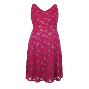 Bright Lace V Neck Swing Dress - neckline: v-neck; sleeve style: sleeveless; bust detail: subtle bust detail; predominant colour: hot pink; occasions: evening; length: just above the knee; fit: fitted at waist & bust; style: fit & flare; fibres: polyester/polyamide - 100%; sleeve length: sleeveless; texture group: lace; pattern type: fabric; pattern size: light/subtle; pattern: patterned/print; embellishment: lace; season: s/s 2016; wardrobe: event