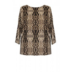 Print Jersey Dodo Top - neckline: round neck; length: below the bottom; predominant colour: chocolate brown; secondary colour: black; occasions: casual, creative work; style: top; fibres: polyester/polyamide - stretch; fit: body skimming; sleeve length: 3/4 length; sleeve style: standard; pattern type: fabric; pattern: patterned/print; texture group: jersey - stretchy/drapey; pattern size: big & busy (top); season: s/s 2016; wardrobe: highlight