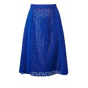 Neoprene Panel Skirt - fit: loose/voluminous; style: pleated; waist: high rise; predominant colour: royal blue; occasions: evening, occasion; length: on the knee; fibres: polyester/polyamide - 100%; hip detail: adds bulk at the hips; waist detail: feature waist detail; texture group: lace; pattern type: fabric; pattern: patterned/print; pattern size: standard (bottom); season: s/s 2016; wardrobe: event
