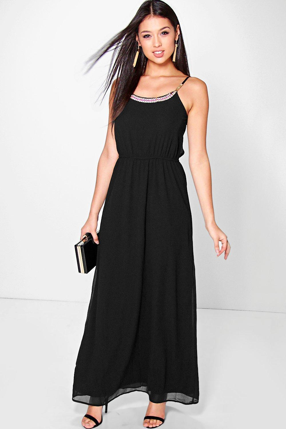 Embellished Neck Maxi Dress Coral - sleeve style: spaghetti straps; pattern: plain; style: maxi dress; length: ankle length; waist detail: belted waist/tie at waist/drawstring; predominant colour: black; occasions: evening; fit: body skimming; neckline: scoop; fibres: polyester/polyamide - 100%; sleeve length: sleeveless; pattern type: fabric; texture group: jersey - stretchy/drapey; season: s/s 2016; wardrobe: event
