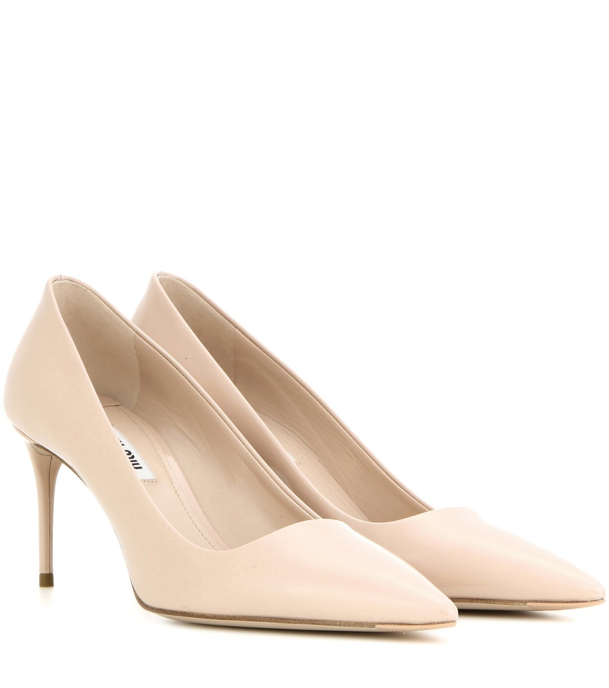 Patent Leather Pumps - predominant colour: nude; occasions: evening; material: leather; heel height: high; heel: stiletto; toe: pointed toe; style: courts; finish: patent; pattern: plain; season: s/s 2016; wardrobe: event