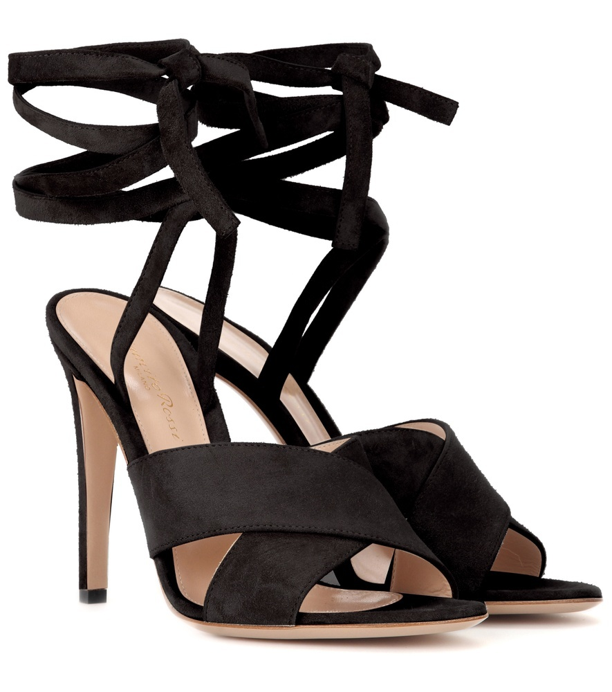Crissy Suede Sandals - predominant colour: black; occasions: evening, occasion; material: fabric; heel height: high; ankle detail: ankle tie; heel: stiletto; toe: open toe/peeptoe; style: strappy; finish: plain; pattern: plain; season: s/s 2016; wardrobe: event