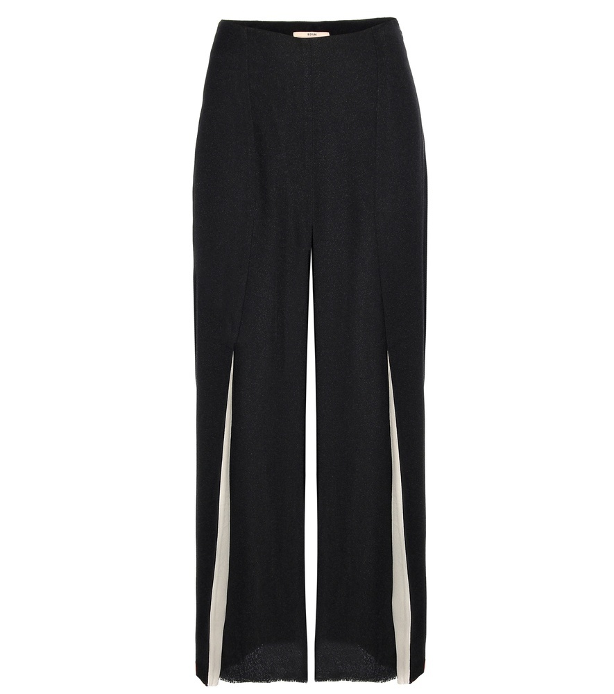 Crepe Culottes - waist: high rise; predominant colour: black; fibres: silk - mix; texture group: crepes; pattern type: fabric; pattern: colourblock; occasions: creative work; season: s/s 2016; style: culotte