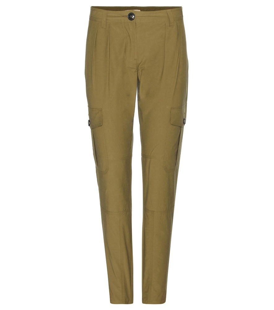 Thomaston Cotton Blend Trousers - length: standard; pattern: plain; style: peg leg; waist: mid/regular rise; predominant colour: khaki; occasions: casual, creative work; fibres: cotton - mix; texture group: cotton feel fabrics; fit: slim leg; pattern type: fabric; season: s/s 2016
