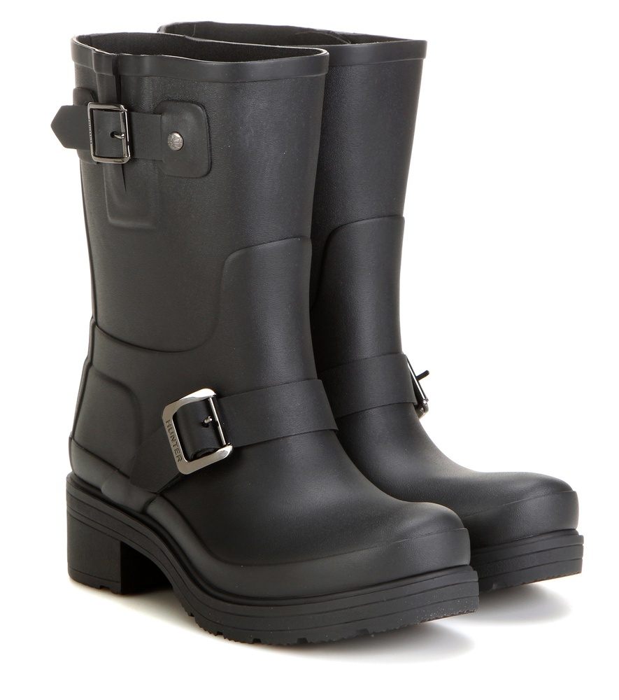 Original Rubber Biker Boots - predominant colour: black; occasions: casual, creative work; material: plastic/rubber; heel height: flat; embellishment: buckles; heel: block; toe: round toe; boot length: mid calf; style: biker boot; finish: plain; pattern: plain; season: s/s 2016; wardrobe: highlight