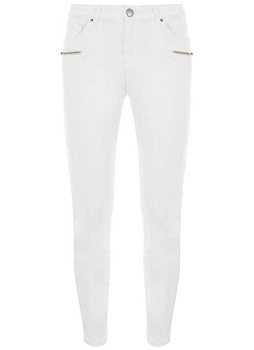 Dayton White Multi Zip Jean - style: skinny leg; length: standard; pattern: plain; waist: mid/regular rise; predominant colour: white; occasions: casual; fibres: cotton - stretch; texture group: cotton feel fabrics; pattern type: fabric; season: s/s 2016; wardrobe: highlight