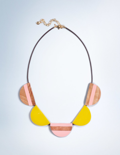 Resin Necklace Cotton Candy/Wood/Mimosa Women Boden, Cotton Candy/Wood/Mimosa - secondary colour: pink; predominant colour: yellow; length: short; size: large/oversized; material: plastic/rubber; finish: plain; embellishment: jewels/stone; occasions: creative work; style: bib/statement; season: s/s 2016