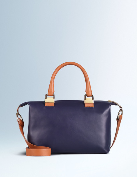 Olivia Bag Navy/Dark Tan Women Boden, Navy/Dark Tan - predominant colour: navy; secondary colour: camel; occasions: casual, creative work; type of pattern: light; style: tote; length: handle; size: standard; material: leather; finish: plain; pattern: colourblock; season: s/s 2016; wardrobe: highlight
