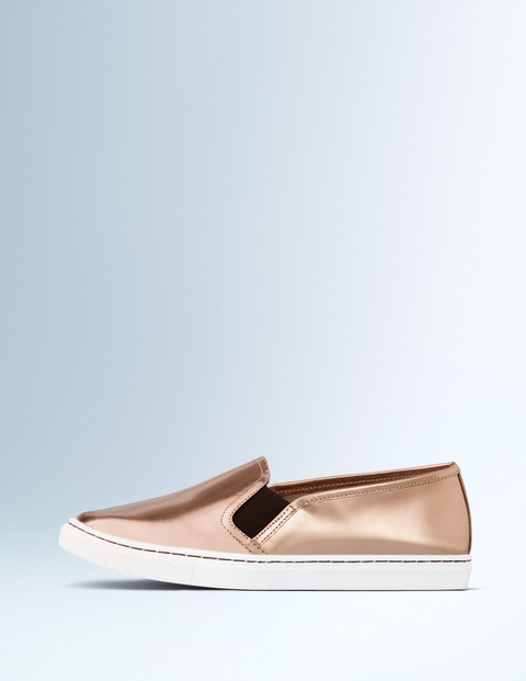 Slip On Trainer Rose Gold Mirror Metallic Women, Rose Gold Mirror Metallic - predominant colour: gold; occasions: casual; material: faux leather; heel height: flat; toe: round toe; style: flatforms; finish: metallic; pattern: plain; season: s/s 2016; wardrobe: basic