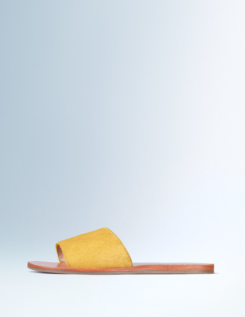 Pony Slide Sandal Mustard Women, Mustard - predominant colour: yellow; occasions: casual, holiday; material: leather; heel height: flat; heel: standard; toe: open toe/peeptoe; style: slides; finish: plain; pattern: plain; season: s/s 2016