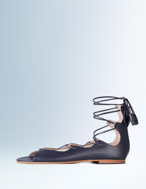 Freida Lace Up Sandal Navy Women, Navy - predominant colour: navy; occasions: casual, creative work; material: leather; heel height: flat; ankle detail: ankle tie; heel: standard; toe: open toe/peeptoe; style: strappy; finish: plain; pattern: plain; season: s/s 2016