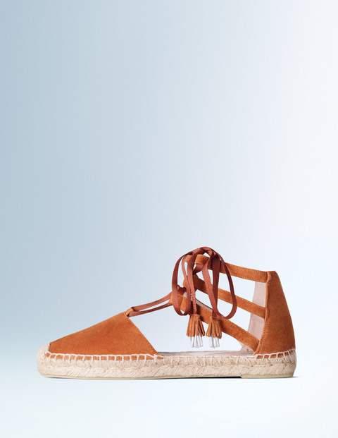 Hazel Espadrille Tan Women, Tan - predominant colour: tan; occasions: casual, holiday; material: suede; heel height: flat; ankle detail: ankle tie; toe: round toe; finish: plain; pattern: plain; style: espadrilles; season: s/s 2016; wardrobe: highlight