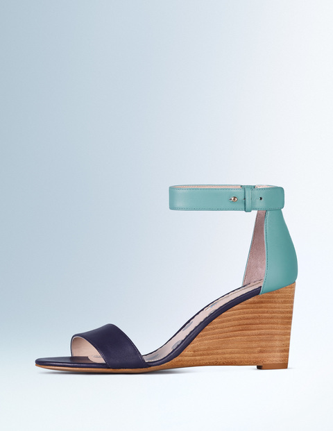 Gemma Wedge Navy/Oxygen Women, Navy/Oxygen - secondary colour: pale blue; predominant colour: navy; material: leather; heel height: high; ankle detail: ankle strap; heel: wedge; toe: open toe/peeptoe; style: strappy; finish: plain; pattern: colourblock; occasions: creative work; multicoloured: multicoloured; season: s/s 2016; wardrobe: highlight