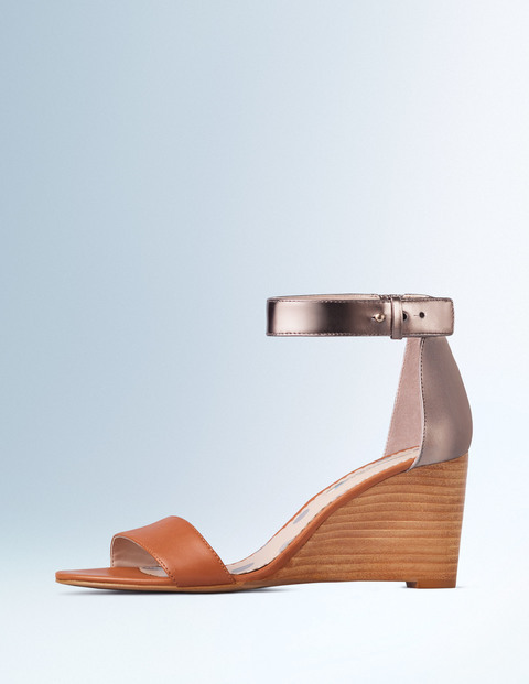 Gemma Wedge Tan/Pewter Women, Tan/Pewter - predominant colour: tan; secondary colour: champagne; material: leather; heel height: high; ankle detail: ankle strap; heel: wedge; toe: open toe/peeptoe; style: strappy; finish: metallic; pattern: colourblock; occasions: creative work; multicoloured: multicoloured; season: s/s 2016; wardrobe: highlight