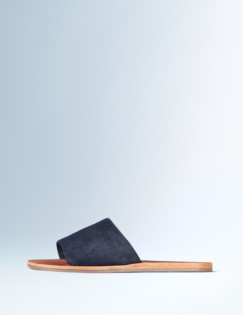 Pony Slide Sandal Navy Women, Navy - predominant colour: navy; occasions: casual, holiday; material: suede; heel height: flat; heel: standard; toe: open toe/peeptoe; style: slides; finish: plain; pattern: colourblock; season: s/s 2016; wardrobe: highlight