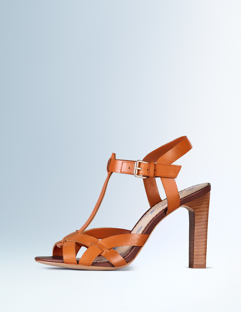 Tara Heel Cognac Women, Cognac - predominant colour: tan; occasions: evening; material: leather; heel height: high; heel: standard; toe: open toe/peeptoe; style: strappy; finish: plain; pattern: plain; season: s/s 2016; wardrobe: event