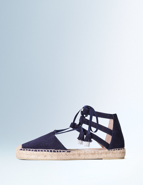 Hazel Espadrille Navy Women, Navy - predominant colour: navy; occasions: casual, holiday; material: fabric; heel height: flat; ankle detail: ankle tie; toe: round toe; finish: plain; pattern: plain; style: espadrilles; shoe detail: platform; season: s/s 2016; wardrobe: highlight