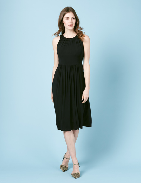 Tie Back Midi Dress Black Women, Black - length: below the knee; fit: fitted at waist; pattern: plain; sleeve style: sleeveless; style: full skirt; predominant colour: black; occasions: casual, evening, work; fibres: polyester/polyamide - stretch; neckline: crew; hip detail: soft pleats at hip/draping at hip/flared at hip; shoulder detail: flat/draping pleats/ruching/gathering at shoulder; sleeve length: sleeveless; pattern type: fabric; texture group: jersey - stretchy/drapey; season: s/s 2016