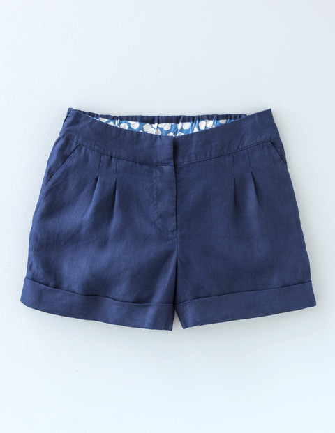 Lottie Linen Shorts Navy Women, Navy - pattern: plain; waist: mid/regular rise; predominant colour: navy; occasions: casual; fibres: linen - 100%; hip detail: subtle/flattering hip detail; texture group: linen; pattern type: fabric; season: s/s 2016; wardrobe: basic; style: shorts; length: short shorts; fit: standard