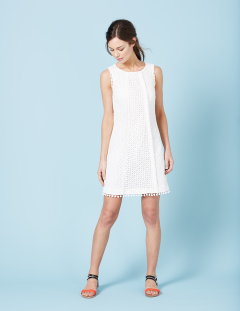 Pretty Broderie Dress White Women, White - style: shift; pattern: plain; sleeve style: sleeveless; predominant colour: white; occasions: evening; length: just above the knee; fit: body skimming; fibres: cotton - 100%; neckline: crew; sleeve length: sleeveless; pattern type: fabric; texture group: broiderie anglais; season: s/s 2016; wardrobe: event