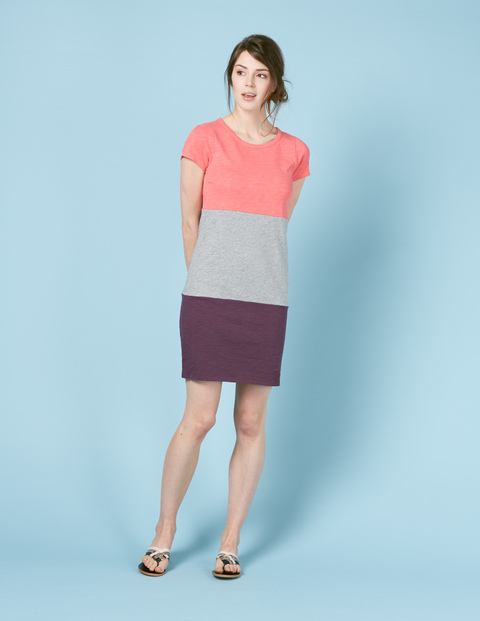 Slub T Shirt Dress Coral/Grey/Plum Women, Coral/Grey/Plum - style: t-shirt; pattern: horizontal stripes; secondary colour: aubergine; predominant colour: coral; occasions: casual; length: just above the knee; fit: body skimming; fibres: cotton - 100%; neckline: crew; sleeve length: short sleeve; sleeve style: standard; pattern type: fabric; texture group: jersey - stretchy/drapey; multicoloured: multicoloured; season: s/s 2016; wardrobe: highlight