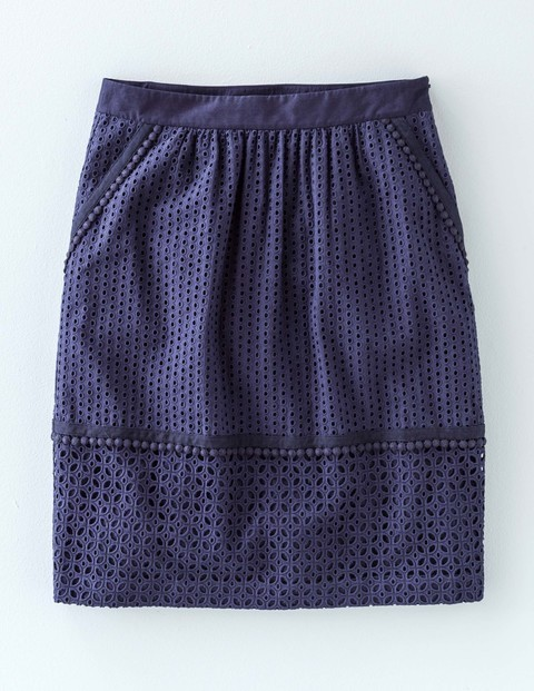 Broderie Skirt Navy Women, Navy - pattern: plain; style: straight; waist: high rise; predominant colour: navy; occasions: casual; length: just above the knee; fibres: cotton - 100%; fit: straight cut; pattern type: fabric; embellishment: lace; texture group: broiderie anglais; season: s/s 2016; wardrobe: highlight; embellishment location: all over