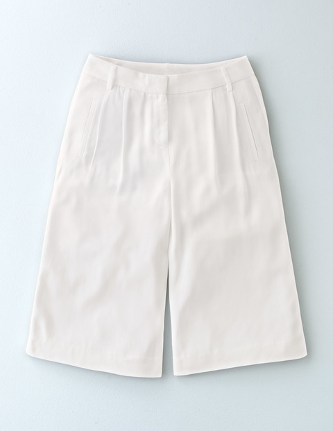 Curzon Culotte Ivory Women, Ivory - pattern: plain; waist: high rise; predominant colour: ivory/cream; occasions: casual, holiday; fibres: cotton - 100%; pattern type: fabric; texture group: other - light to midweight; season: s/s 2016; style: culotte; length: on the knee; fit: standard; wardrobe: holiday
