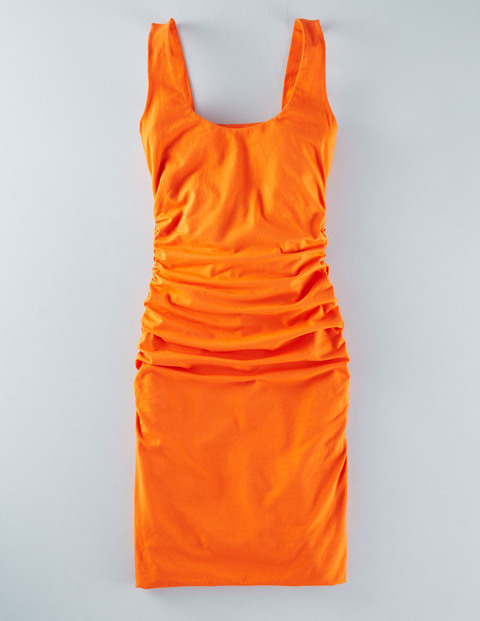 Scoop Neck Ruched Dress Tulip Women, Tulip - neckline: round neck; pattern: plain; sleeve style: sleeveless; style: tulip; predominant colour: bright orange; occasions: evening; length: just above the knee; fit: body skimming; fibres: cotton - stretch; sleeve length: sleeveless; texture group: jersey - clingy; pattern type: fabric; season: s/s 2016