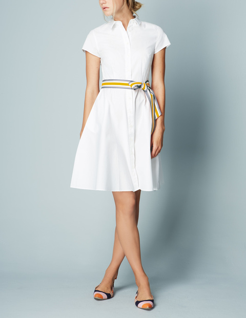 Sophia Shirt Dress White Women, White - style: shirt; neckline: shirt collar/peter pan/zip with opening; pattern: plain; waist detail: belted waist/tie at waist/drawstring; predominant colour: white; occasions: casual; length: just above the knee; fit: body skimming; fibres: cotton - 100%; sleeve length: short sleeve; sleeve style: standard; texture group: cotton feel fabrics; pattern type: fabric; season: s/s 2016; wardrobe: basic