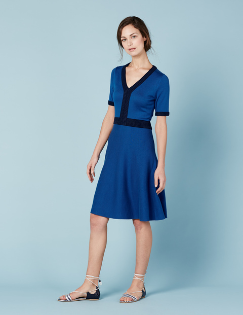 Olivia Knitted Dress Cornflower/Navy Women, Cornflower/Navy - neckline: v-neck; pattern: plain; predominant colour: royal blue; secondary colour: navy; occasions: evening; length: just above the knee; fit: fitted at waist & bust; style: fit & flare; fibres: cotton - mix; sleeve length: short sleeve; sleeve style: standard; pattern type: fabric; texture group: jersey - stretchy/drapey; multicoloured: multicoloured; season: s/s 2016
