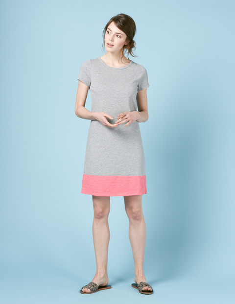 Slub T Shirt Dress Grey Marl/Camellia Women, Grey Marl/Camellia - style: t-shirt; secondary colour: pink; predominant colour: light grey; occasions: casual; length: just above the knee; fit: body skimming; fibres: cotton - 100%; neckline: crew; sleeve length: short sleeve; sleeve style: standard; pattern type: fabric; pattern: colourblock; texture group: jersey - stretchy/drapey; multicoloured: multicoloured; season: s/s 2016