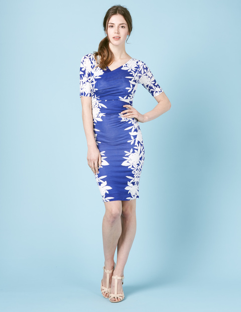 Rita Ruched Summer Dress Renaissance Blue Floral Women, Renaissance Blue Floral - neckline: v-neck; fit: tight; style: bodycon; secondary colour: white; predominant colour: royal blue; occasions: evening; length: just above the knee; fibres: viscose/rayon - 100%; sleeve length: short sleeve; sleeve style: standard; texture group: jersey - clingy; pattern type: fabric; pattern: florals; multicoloured: multicoloured; season: s/s 2016; wardrobe: event