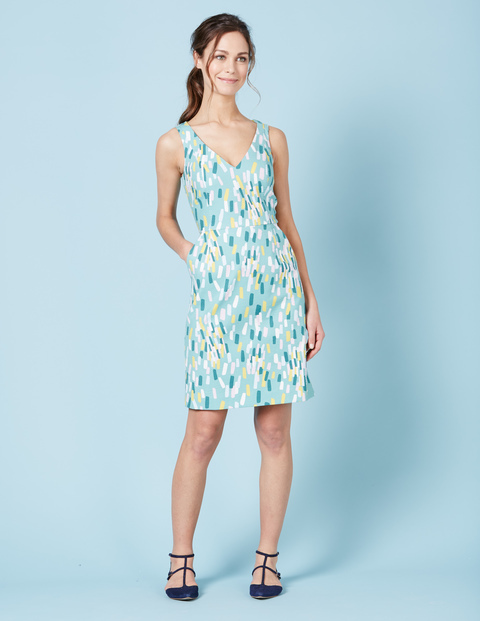 Textured Emma Dress Turq Multi Painted Geo Women, Turq Multi Painted Geo - style: shift; neckline: low v-neck; fit: tailored/fitted; sleeve style: sleeveless; predominant colour: pale blue; secondary colour: primrose yellow; occasions: casual; length: on the knee; fibres: cotton - stretch; sleeve length: sleeveless; pattern type: fabric; pattern: patterned/print; texture group: other - light to midweight; multicoloured: multicoloured; season: s/s 2016; wardrobe: highlight