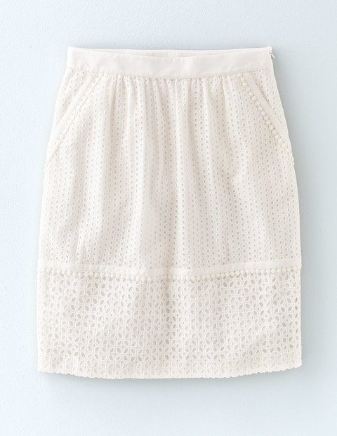Broderie Skirt Ivory Women, Ivory - pattern: plain; style: pencil; fit: body skimming; waist: mid/regular rise; predominant colour: ivory/cream; occasions: evening; length: just above the knee; fibres: cotton - 100%; pattern type: fabric; texture group: broiderie anglais; season: s/s 2016