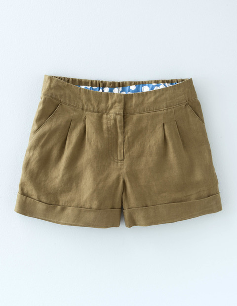 Lottie Linen Shorts Kale Women, Kale - pattern: plain; pocket detail: pockets at the sides; waist: mid/regular rise; predominant colour: camel; occasions: casual; fibres: linen - 100%; texture group: linen; pattern type: fabric; season: s/s 2016; wardrobe: basic; style: shorts; length: short shorts; fit: slim leg